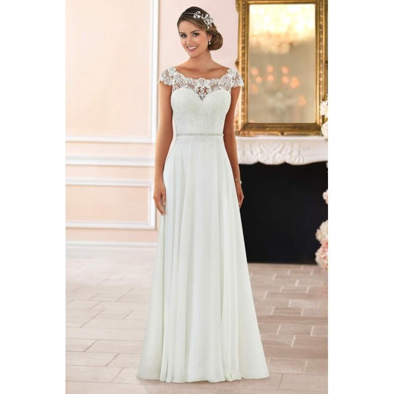 781dcde3a9f Stella York Style 6365 by Stella York - Ivory White Chiffon Lace Illusion  back Floor Wedding Dresses - Bridesmaid Dress Online Shop