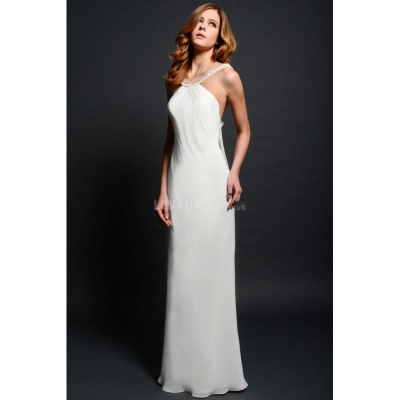 Wedding - Halter Chiffon Sheath/ Column Natural Waist Floor Length Casual Wedding Dresses - Compelling Wedding Dresses