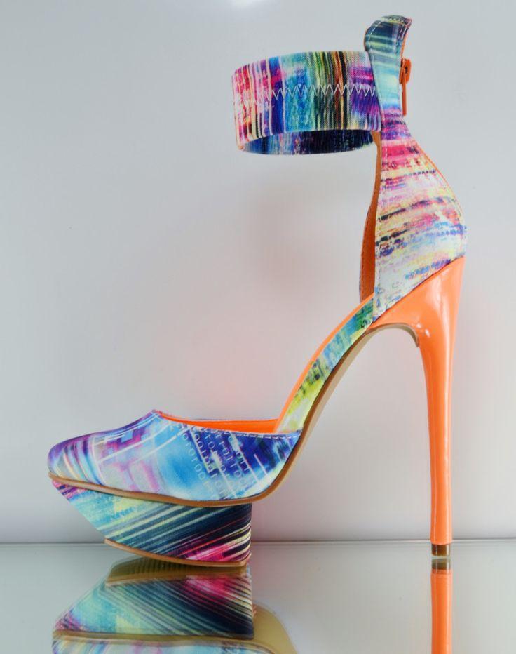 Hochzeit - Privileged Viviette Blue / Neon Orange Matrix Ankle Cuff Platform Shoe 7-11
