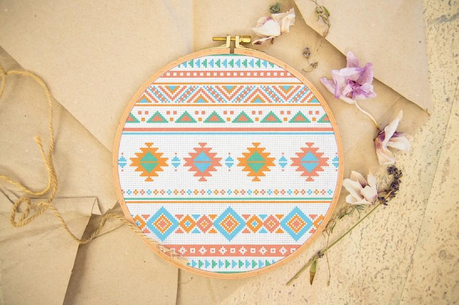 Modern Tribal Ornament Cross Stitch Pattern  Boho Cross