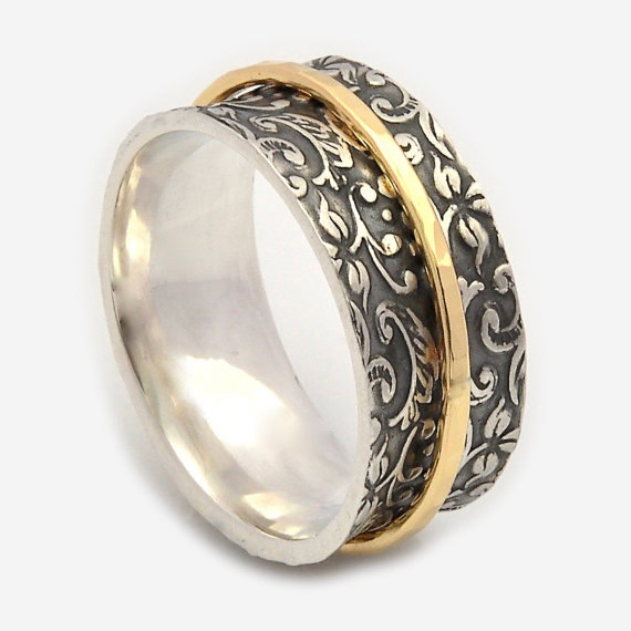 Wedding - Spinner rings for women, Oxidized floral base, Spinner band, Meditation rings, Nature Inspired ring, Gold spinner ring, Silver wedding rings