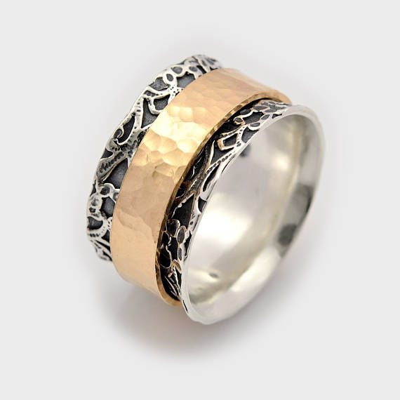 Wedding - Swivel silver ring, Rotating gold ring, Leaf worry ring, Israeli ring, Commitment ring, Meditation band, Worry ring, Anxiety ring