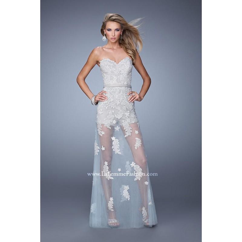 Wedding - Gray/Powder Blue La Femme 21165 La Femme Prom - Rich Your Wedding Day