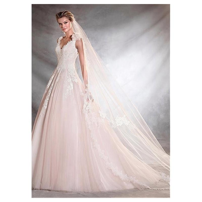Wedding - Charming Tulle V-neck Neckline A-line Wedding Dresses With Beaded Lace Appliques - overpinks.com