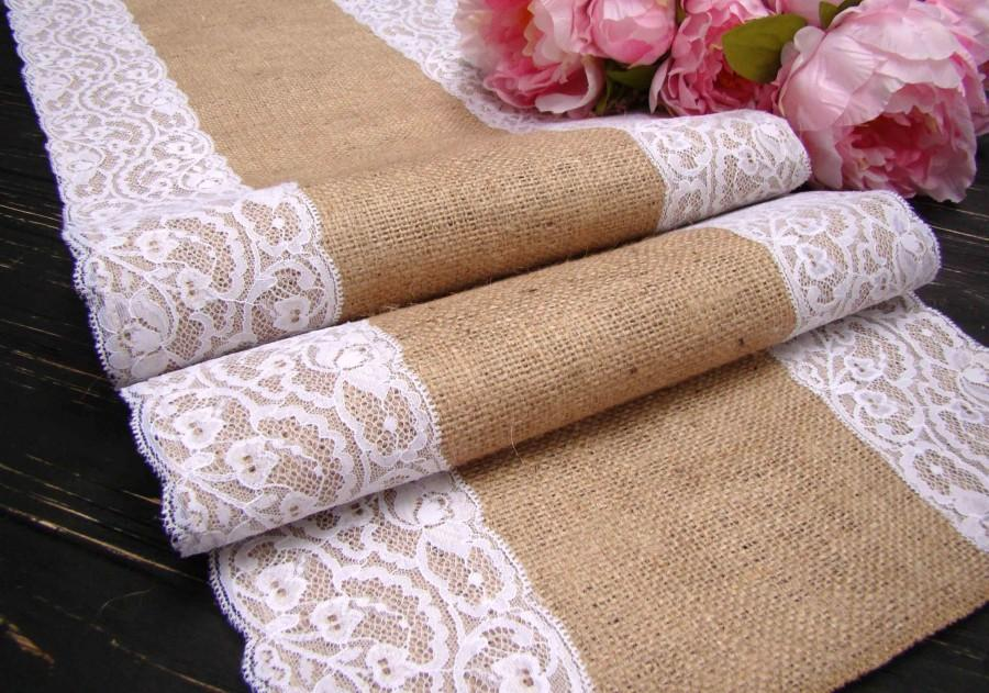 Wedding Table Runner Burlap And White Lace Runner Rustic Wedding
