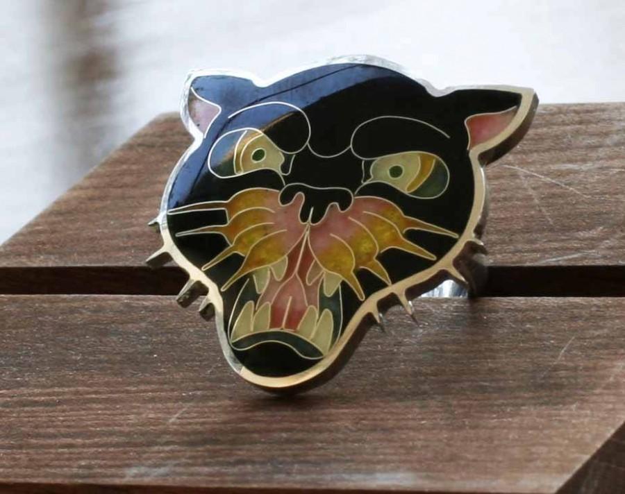 Свадьба - Ring  Hot enamel silver 925  ring  Panther  Cloisonne jewelry  Enamel ring  Black ring  Old scholl  art
