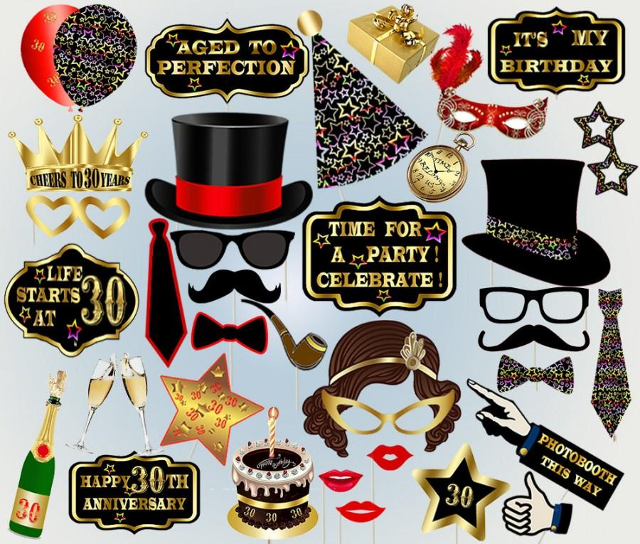 30th Birthday Printable Thirty Props Photo Booth Party Hats