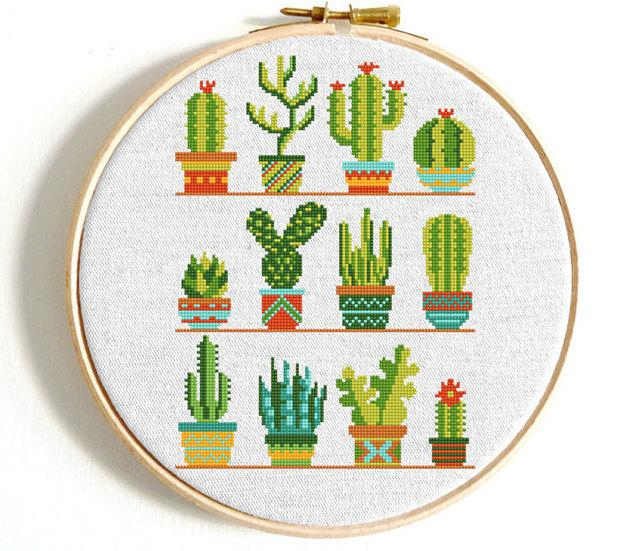 Свадьба - Cactus cross stitch pattern Flower cross stitch sampler Modern counted xstitch Natural PDF pattern Easy cross stitch PDF printable chart