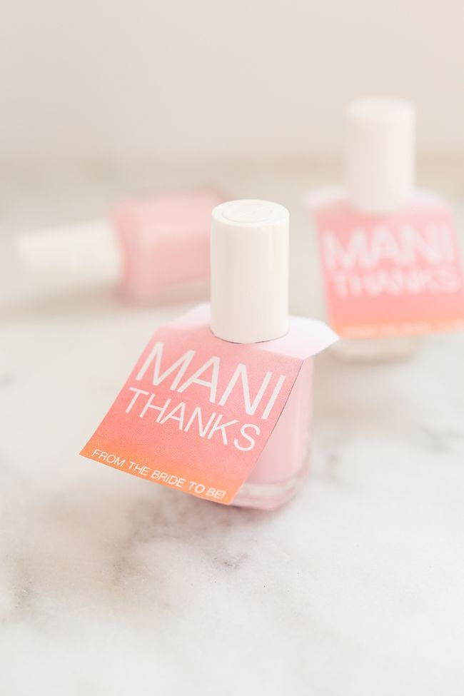 Wedding - Easy Mani Thanks Free Printable Nail Polish Favors