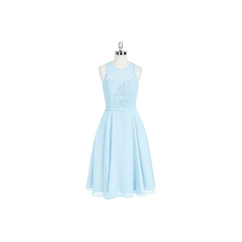 Mariage - Sky_blue Azazie Sylvia - Scoop Knee Length Back Zip Chiffon And Lace Dress - Charming Bridesmaids Store