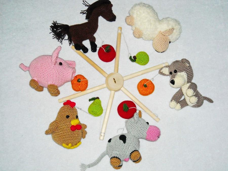 Farm Animals Baby Mobile Crochet Crib Nursery Decor