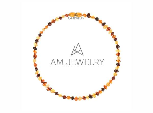 Mariage - Teething amber necklace for babies. Baby teething necklace. Baltic amber necklace. Polished amber beads, mix color. N004