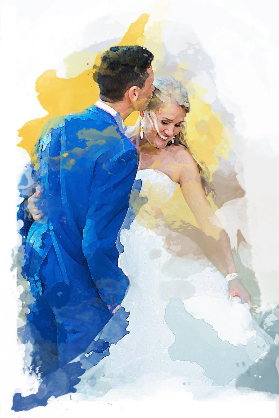 Mariage - Wedding Anniversary Poster- Custom watercolor print digital commission portrait of you photo in a watercolour effect made to order
