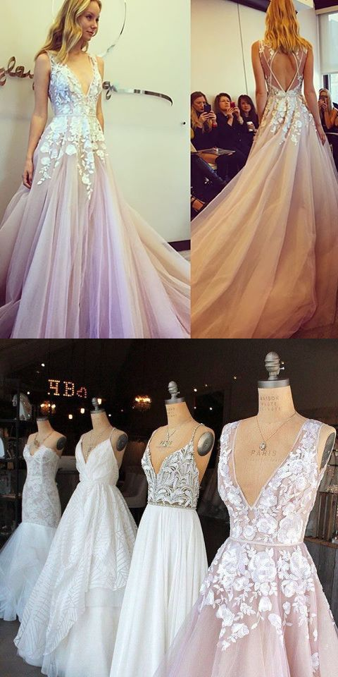 2017 Long Prom Dress, Pink Prom Dress With White Lace Appliques From ...
