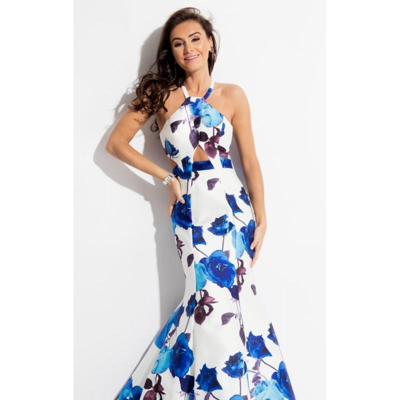 Wedding - Royal Halter Printed Mermaid Gown by Rachel Allan - Color Your Classy Wardrobe