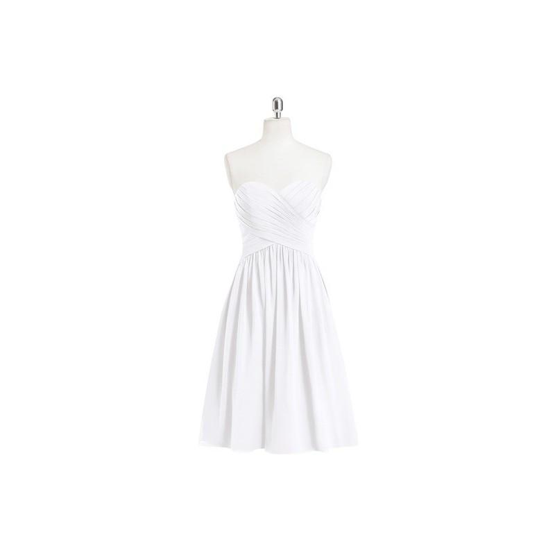 Wedding - White Azazie Heidi - Knee Length Back Zip Chiffon Sweetheart Dress - Cheap Gorgeous Bridesmaids Store