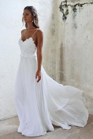 Wedding - Sexy Open Backs Lace White Wedding Gown,Boho Beach Wedding Dresses, SW28