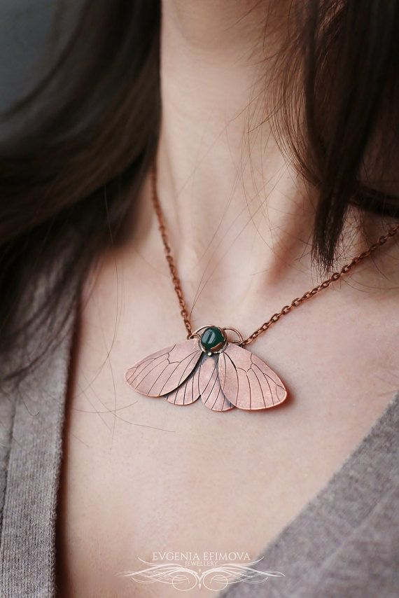 Wedding - Moth Necklace, Butterfly Copper Pendant, Copper Realistic Moth Jewelry, Nature Lover Pendant, Butterfly Moth Insect Pendant Wildlife Pendant