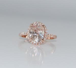 Wedding - 2ct Cushion Ice Peach Champagne Color Change Sapphire In 14k Rose Gold Diamond Ring. $2,200.00, Via Etsy.