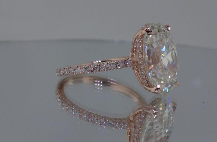 Wedding - Josh Levkoff - Collection, Rings - Rose Gold Oval Custom Engagement Ring With MicroPave Diamonds
