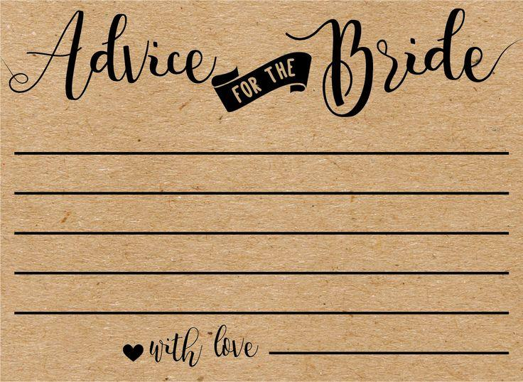 Advice For The Bride Cards Bridal Shower Advice Cards Bridal