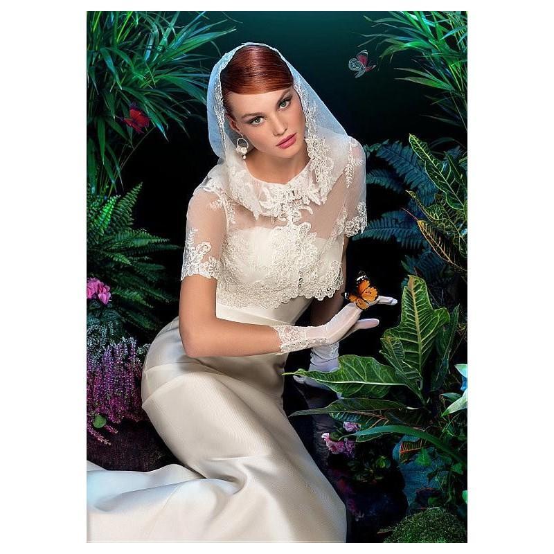 Mariage - Unique Satin Jewel Neckline Natural Waistline Mermaid Wedding Dress - overpinks.com
