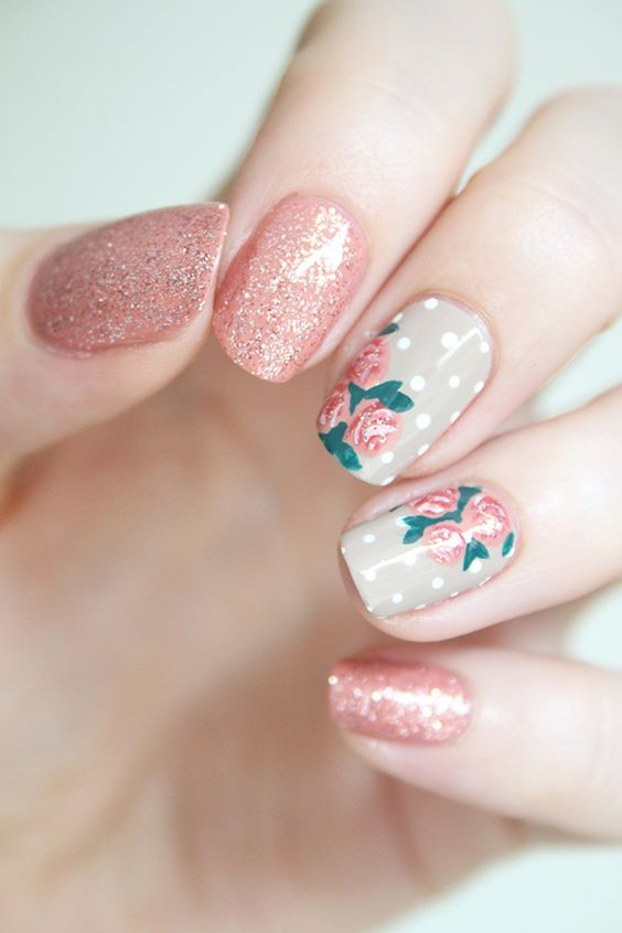Wedding - Rose Nail Art