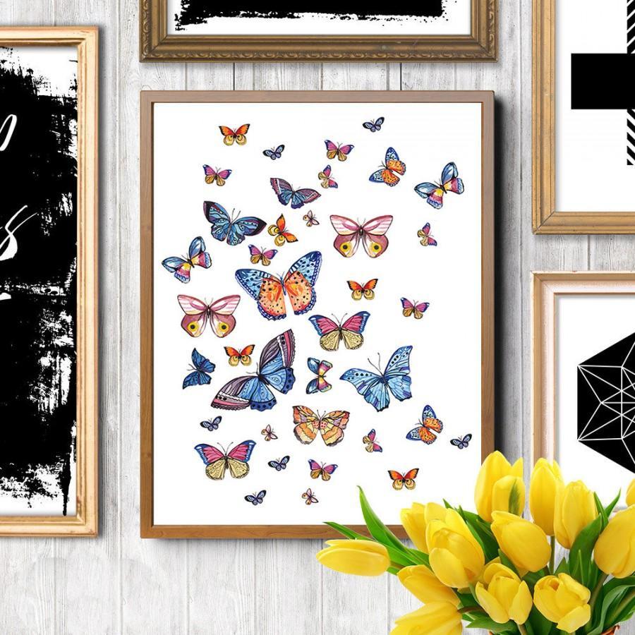 Wedding - Butterfly art, Butterfly print, Butterflies print, Butterfly painting, Butterfly watercolor, Fashion illustration, Fashion art print