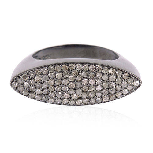 Wedding - 925 Sterling Silver Pave Diamond Marquise Shape Ring Jewelry