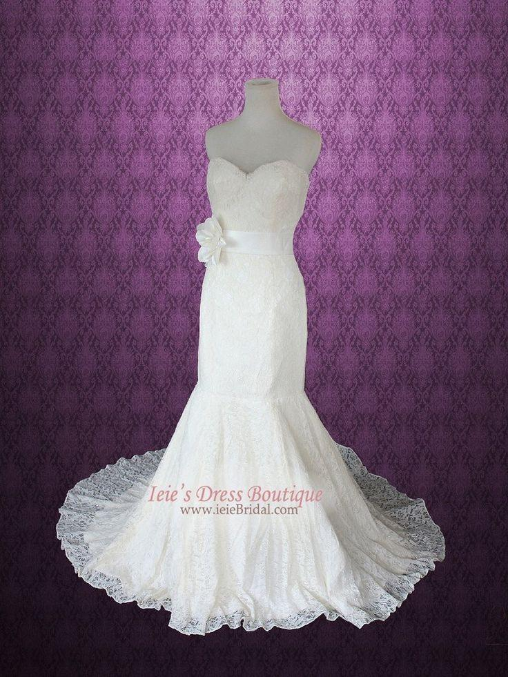 Wedding - Vintage Inspired Strapless Cotton Lace Mermaid Wedding Dress