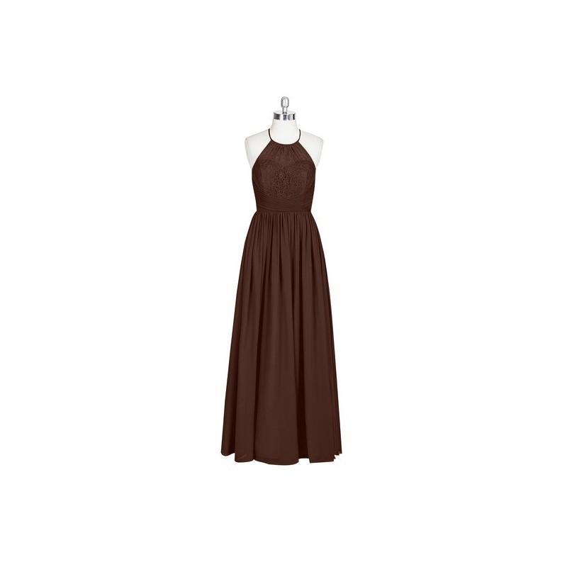 613f24cad3be Chocolate Azazie Harmony - Floor Length Chiffon Strap Detail Halter Dress -  Cheap Gorgeous Bridesmaids Store