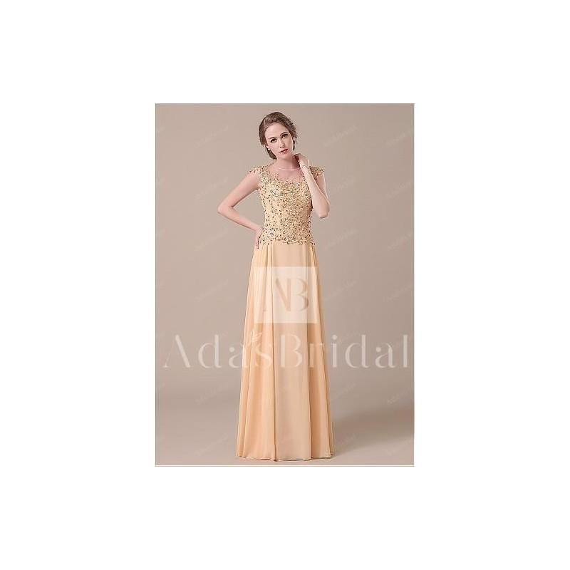 Свадьба - Elegant Lace & Chiffon Jewel Neckline Full-length A-line Mother of The Bride Dresses - overpinks.com