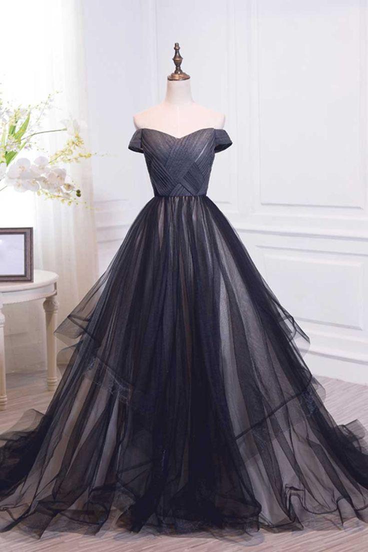 Свадьба - Black Off Shoulder Tulle Long Prom Dress, Black Evening Dress
