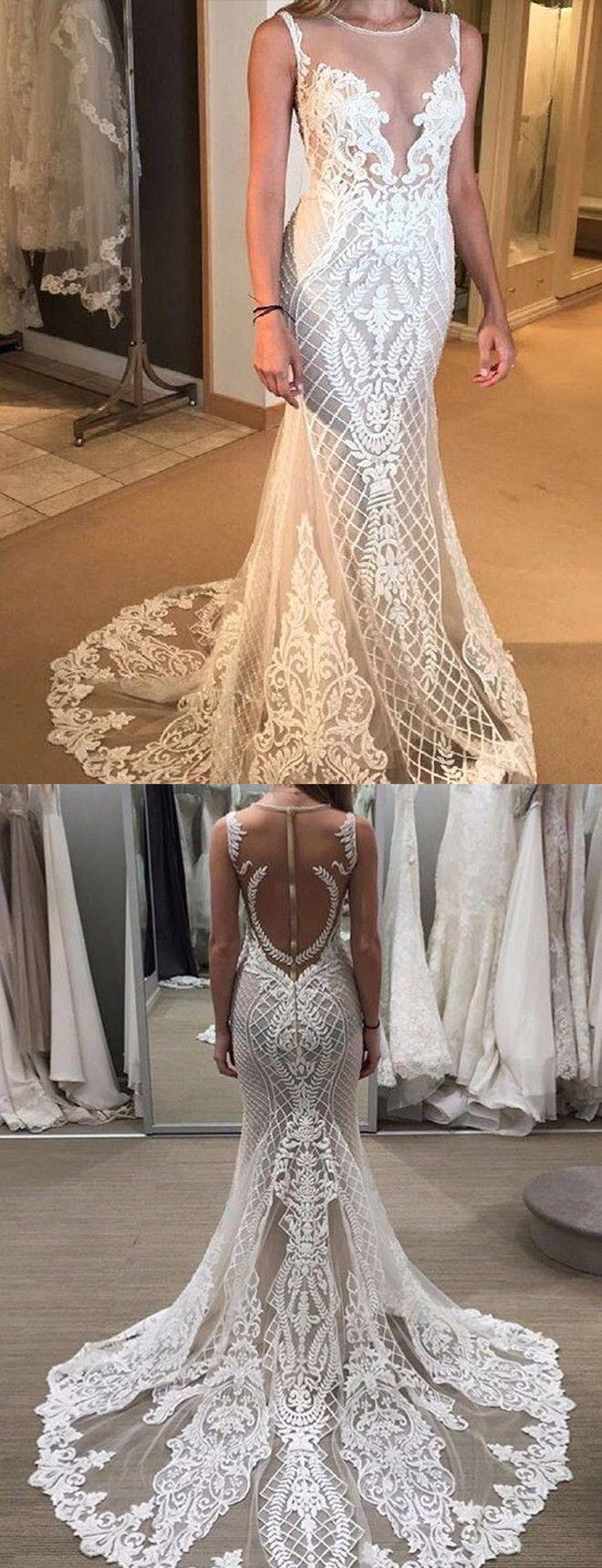 Hochzeit - Fabulous Jewel Sleeveless Sheath Lace Wedding Dress With Detachable Train Illusion Back