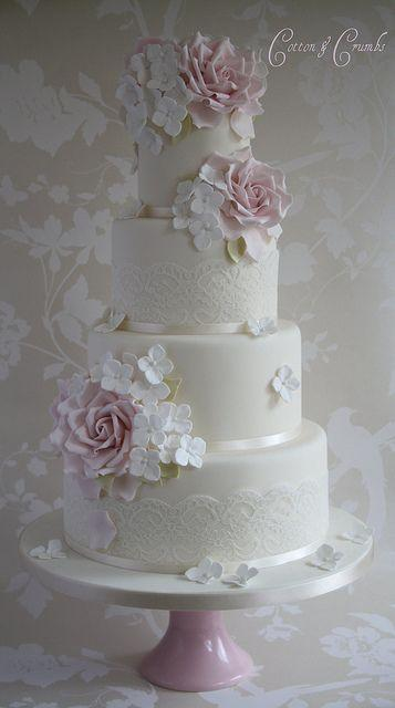 Wedding - Rose & Hydrangea Wedding Cake