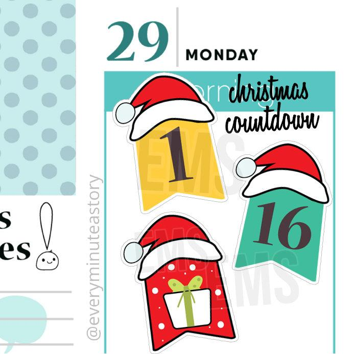 Boda - Christmas countdown planner stickers, santa's hat, winter planner stickers, kikkik mambi planner, erin condren, happy planner kit S190