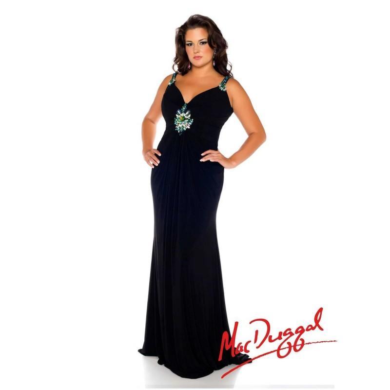 Wedding - Mac Duggal Fabulouss 76627F Plus Size Beaded Straps Dress - Brand Prom Dresses