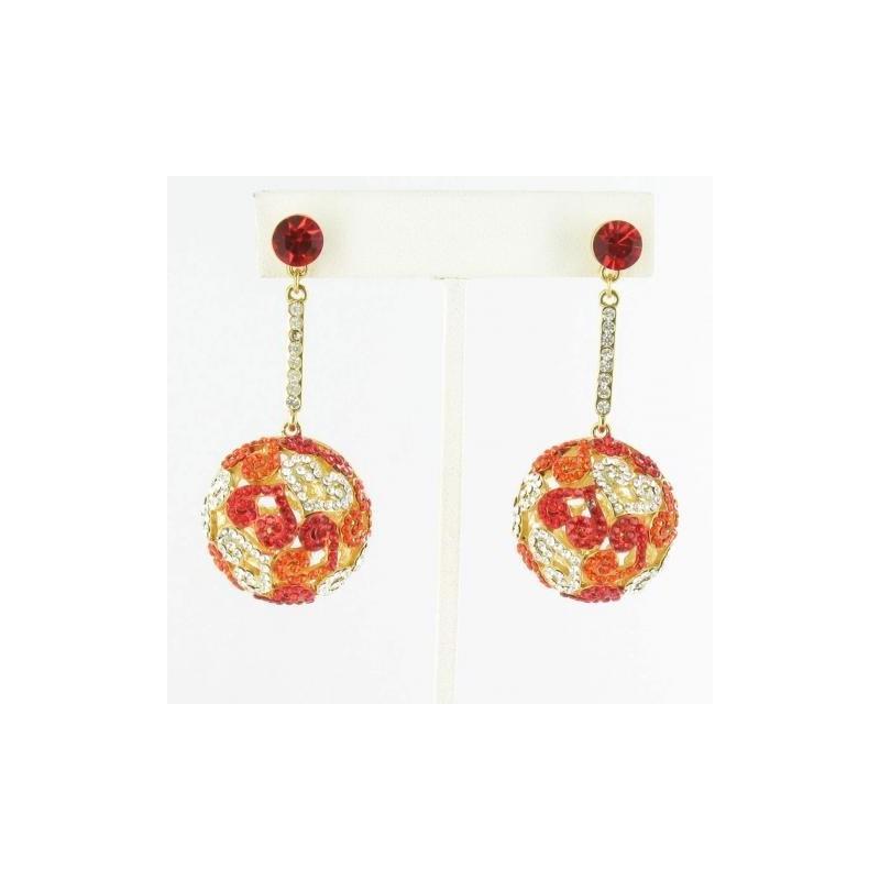 Wedding - Helens Heart Earrings JE-E08871-G-Red Helen's Heart Earrings - Rich Your Wedding Day