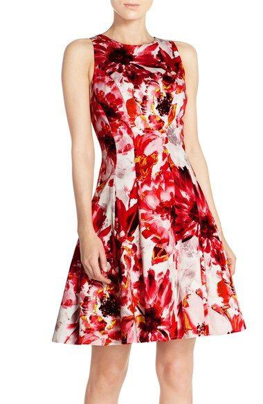 Mariage - Floral Print Stretch Cotton Fit & Flare Dress