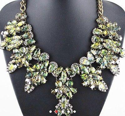 Mariage - Zara Green Shourouk Diamante Flower Chunky Gold Statement Necklace Boho New
