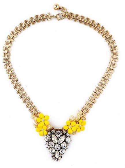 Mariage - Yellow Flowers Bib Necklace