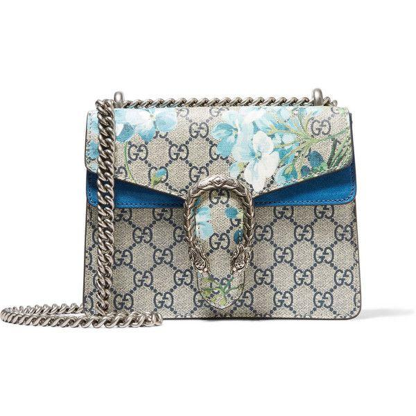 Wedding - Gucci Dionysus Mini Suede-trimmed Printed Coated Canvas Shoulder Bag