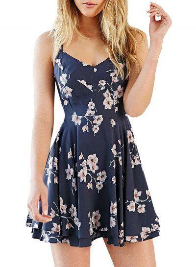 Boda - Summer Women's Fashion Spaghetti Strap Floral Print Backless Mini Skater Dress