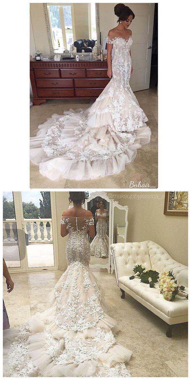 Wedding - Luxury Mermaid Gelinlik Lace Wedding Dresses Robe De Mariage Applique Hochzeitskleid Vestido De Noiva Arabic Bridal Gowns From Olesa Wedding Shop