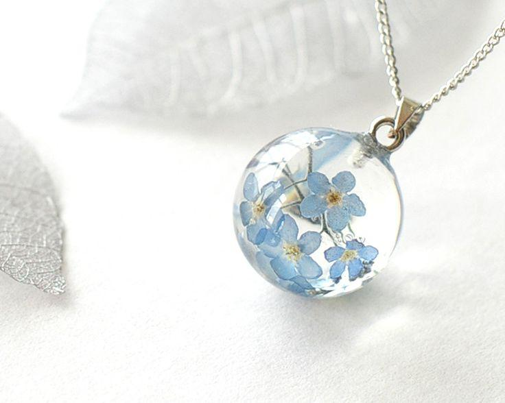 Wedding - Real Forget-me-not Flowers Necklace - Blue Forget Me Not In Globe Ball Resin - Myosotis Sylvatica