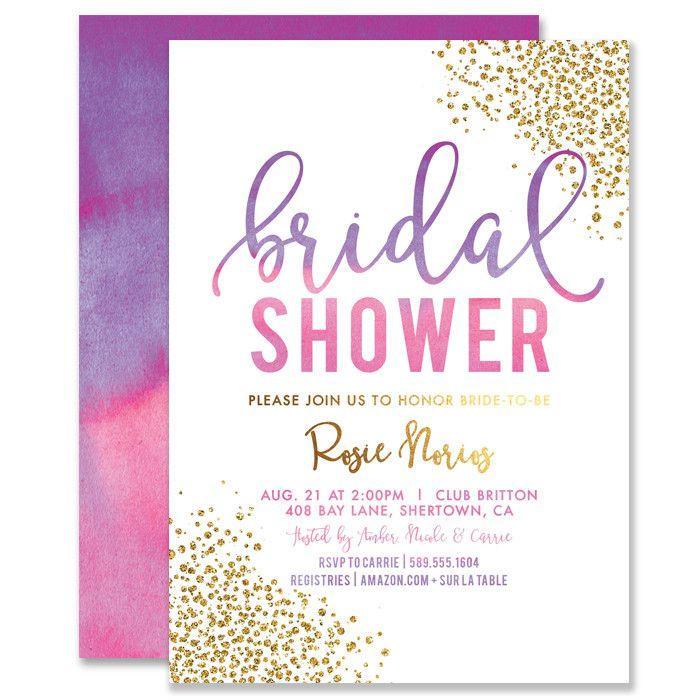 """زفاف - """"Rosie"""" Pink Purple Ombre Bridal Shower Invitation"""