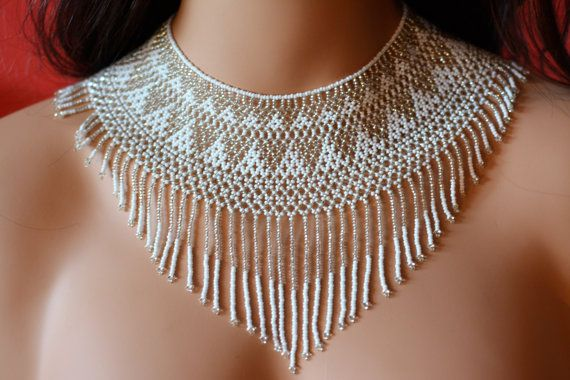 Wedding - Very Chic Chaquira Handbeaded Necklace, Choker, White And Silver Color, Huichol