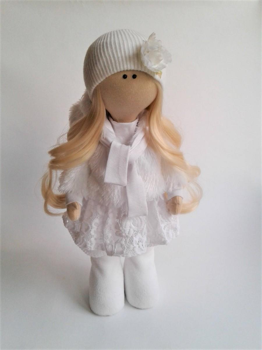 Hochzeit - Art doll. Rag doll. Fabric doll. handmade doll. textile doll. doll for interior. doll. author handmade doll. Angel.