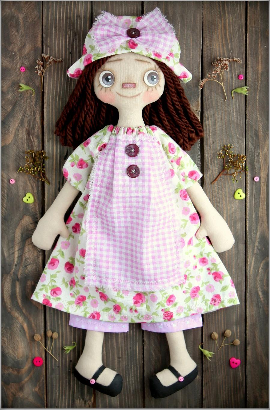 Mariage - Primitive Raggedy Doll Olivia fabric soft doll rag doll cloth doll  мягкие игрушки текстильная кукла handmade doll