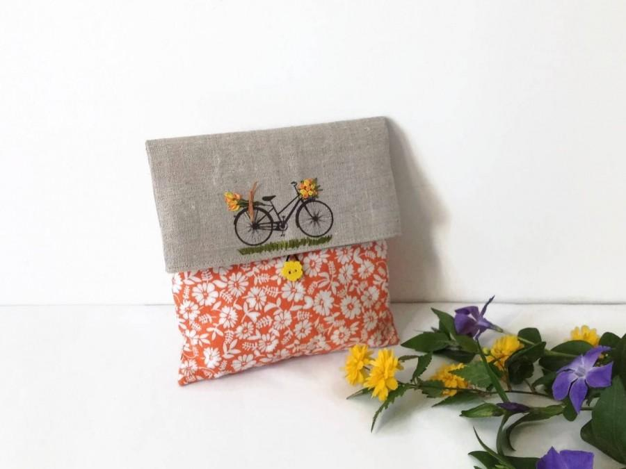 Wedding - Clutch Bag, Orange foldover Clutch, Cosmetic Bag, Wedding Clutch, Favor Bag, Flower Clutch Bag, Cosmetic  Storage, Make up Bag, gift for her